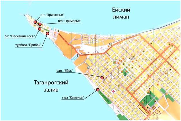 Общая карта Ейской косы: